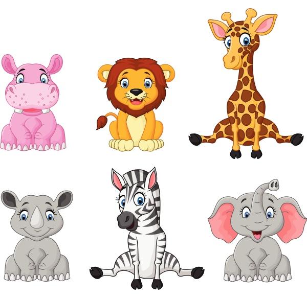 conjunto de desenhos animados de animais