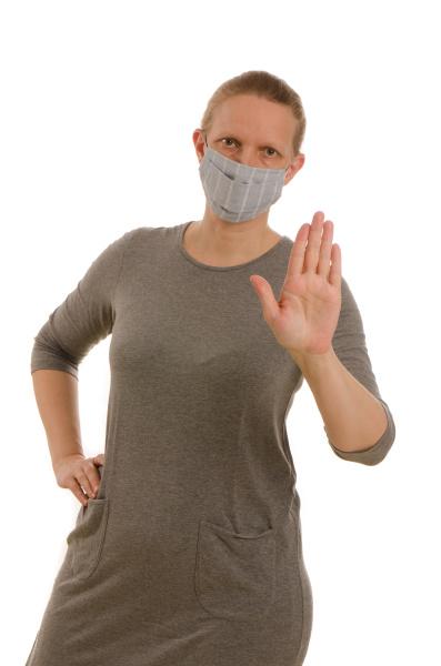 mulher, com, proteção, bucal, e, máscara - 28231688