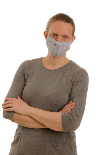mulher, com, proteção, bucal, e, máscara - 28231690