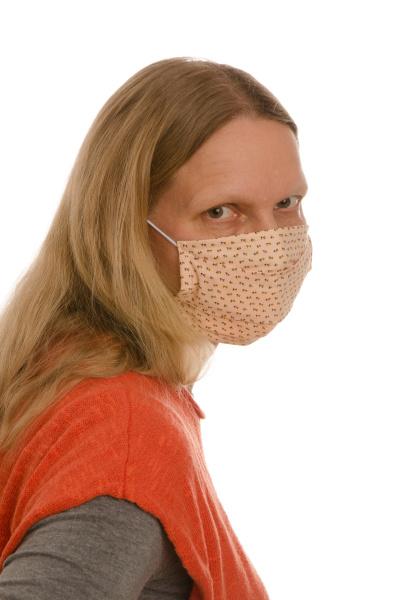mulher, com, proteção, bucal, e, máscara - 28231764