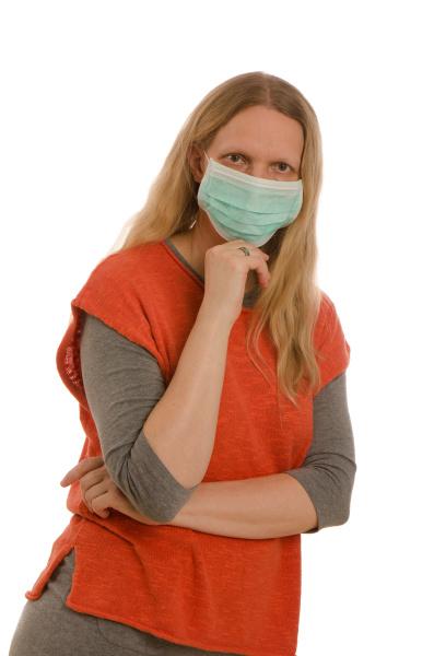 mulher, com, proteção, bucal, e, máscara - 28231811