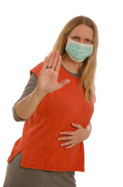 mulher, com, proteção, bucal, e, máscara - 28231812