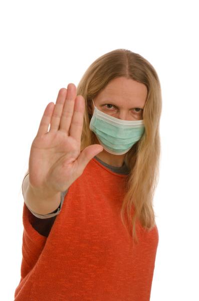 mulher, com, proteção, bucal, e, máscara - 28231977