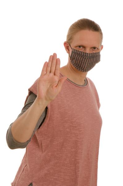 mulher, com, proteção, bucal, e, máscara - 28232016