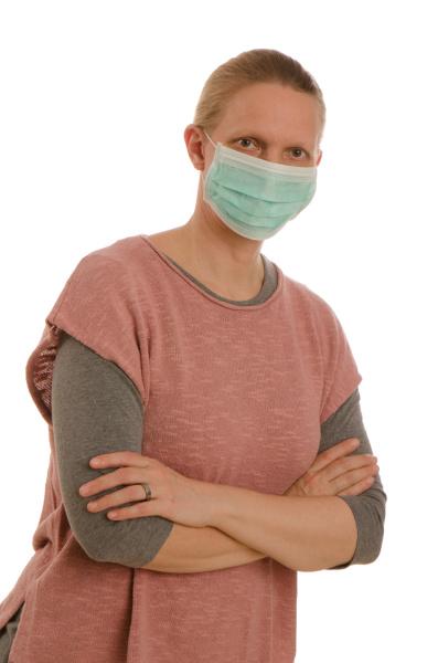mulher, com, proteção, bucal, e, máscara - 28232018