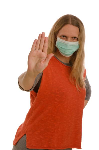 mulher, com, proteção, bucal, e, máscara - 28232121