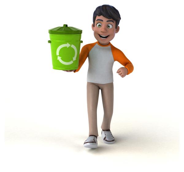 divertido desenho animado 3d adolescente asiatico