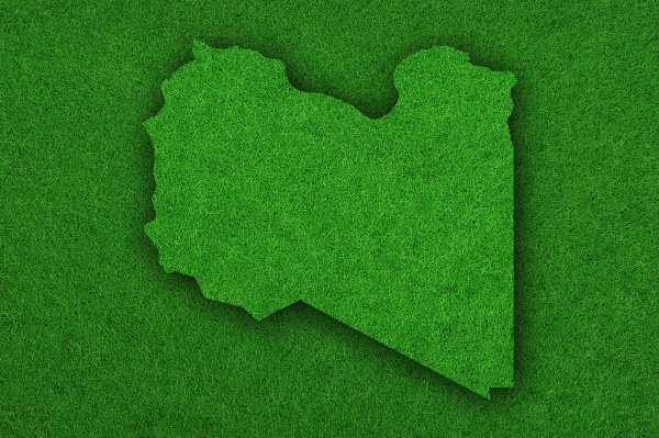 mapa da libia sobre feltro verde