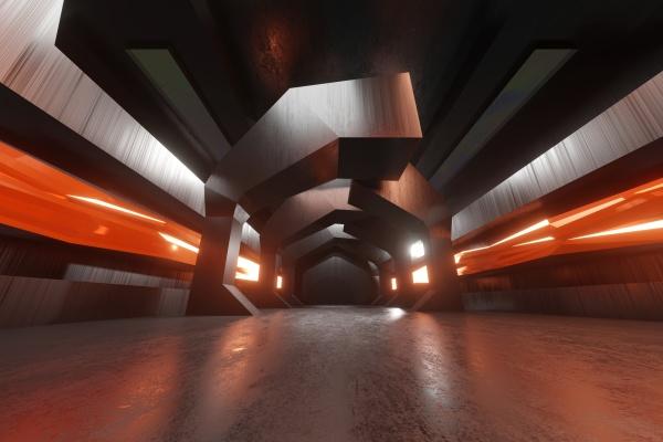 renderizacao tridimensional de corredor futurista dentro