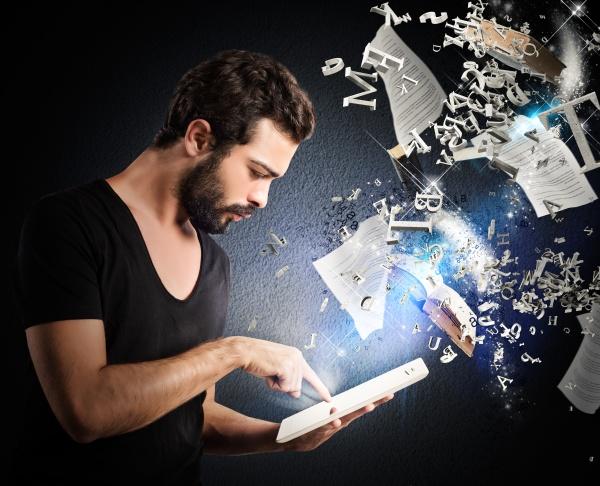 lendo, livros, com, um, e-book - 29873843