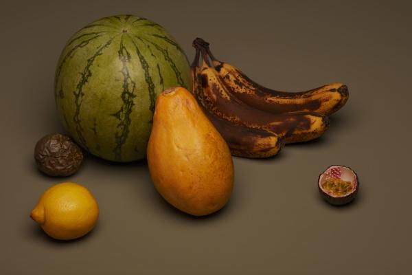 vida ainda de frutas com bananas