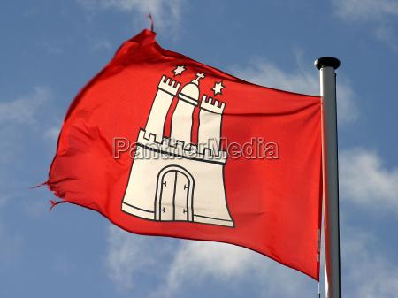 bandeira de hamburgo no vento
