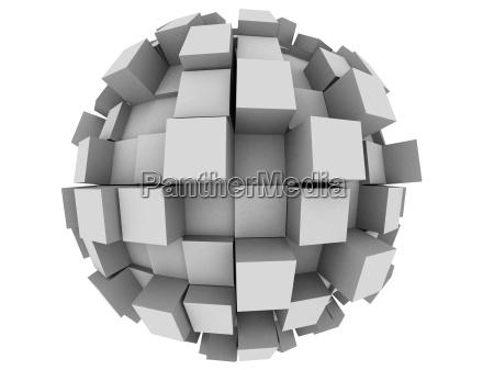 objeto abstrato cubo esfera cinza