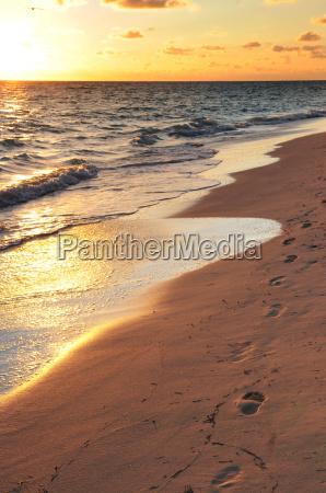 footprints on sandy beach at sunrise