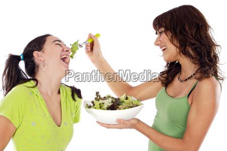 duas, meninas, bonitas, com, uma, salada - 1503375