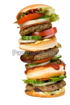 quadruple hamburger isolated on white background