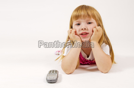 little girl waiting with phone
