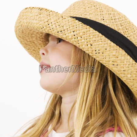 girl with too large hat