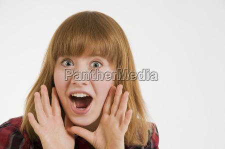 young woman shouting