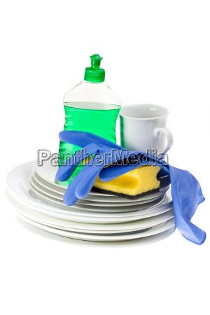 pratos esponja e detergente