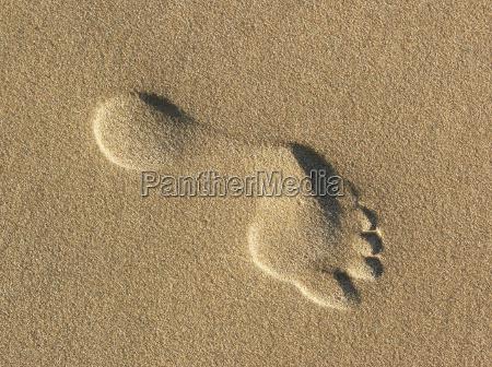 pegada na areia