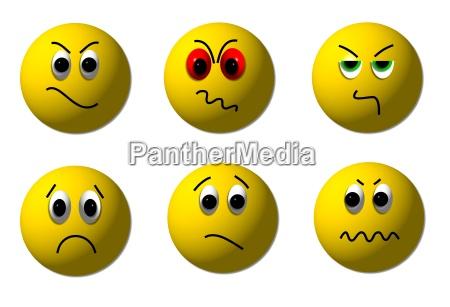 smileys zangado e triste