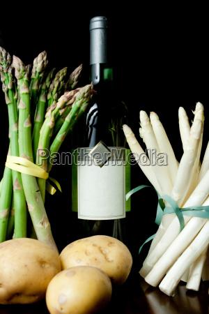 alimento vinho fruta vegetal espargos batata
