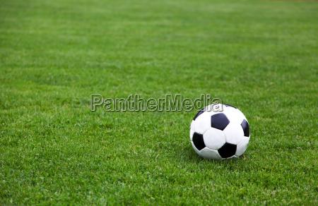 esfera de futebol no campo do