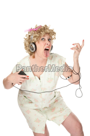 funny woman in nightgown listening to