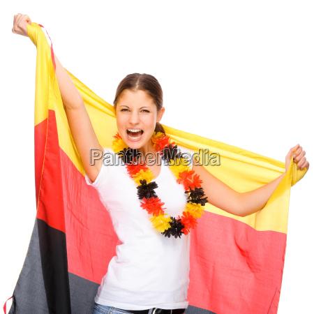 mulher com a bandeira alemanha