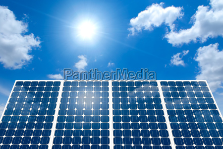 concept of solar panel and sun