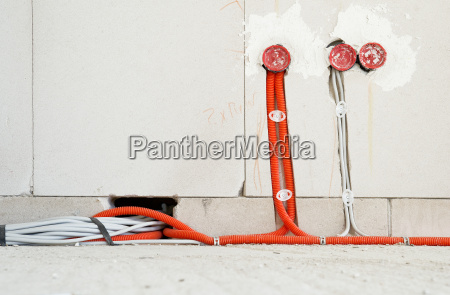 electric underfloor box and cables in