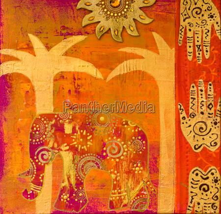 animal elefante india pintura colagem pintado
