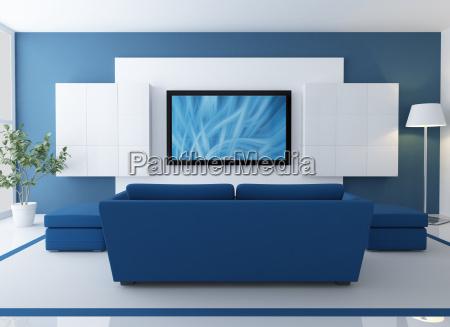 salao azul e branco