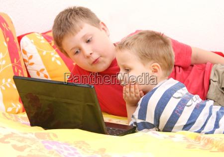 irmãos, no, computador - 4475219
