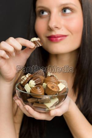chocolate a mulher nova do retrato