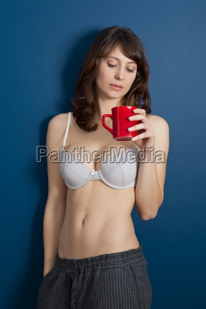 hot girl drinking a hot coffee