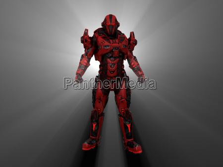 soldado futurista mecanicamente androide reforco mecanico