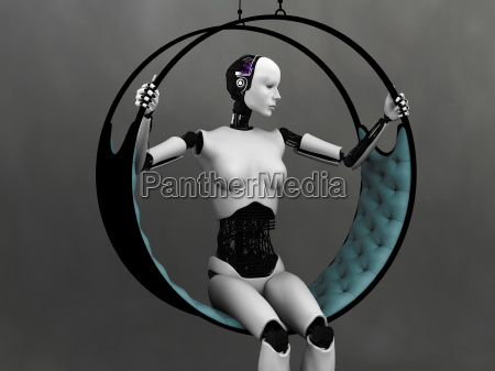 mulher do robo sentado na rede