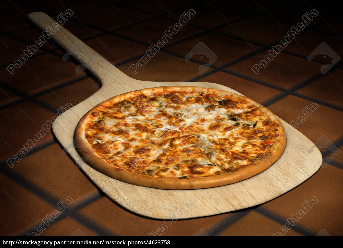 pizza, em, uma, casca, de, madeira - 4623758
