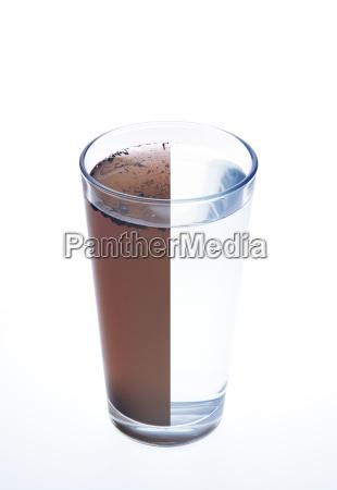 Agua limpa e suja em um