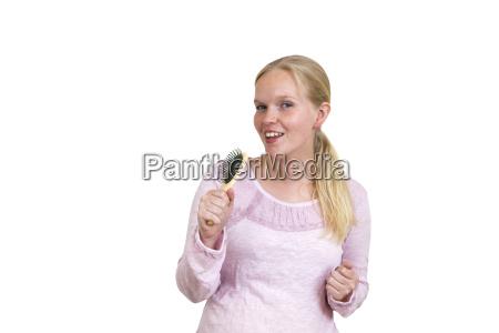 mulher liberado retrato lixo escova de