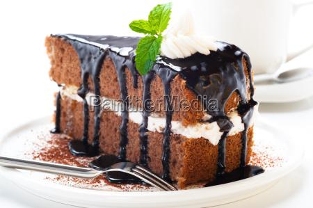 uma parte de bolo de chocolate