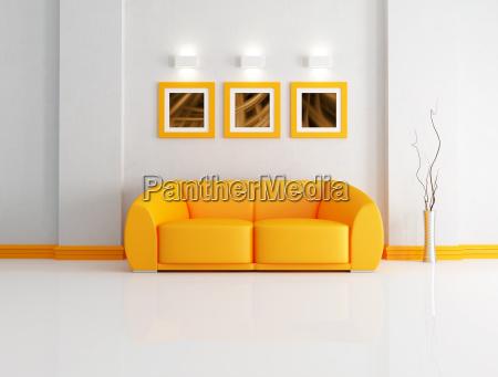 laranja e branco sala de estar