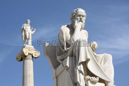 estatuas neoclassicas de socrates e apollo