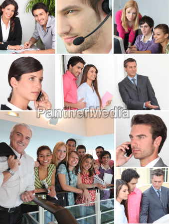 colagem que mostra trabalhadores de escritorio