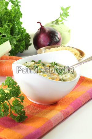 noodle soup with parsley