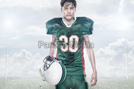 atleta capacete farois dianteiros rugbi futebol