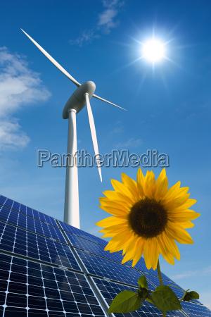 modulos solares roda de energia eolica