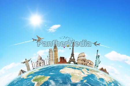 viaja o conceito monumentos mundo